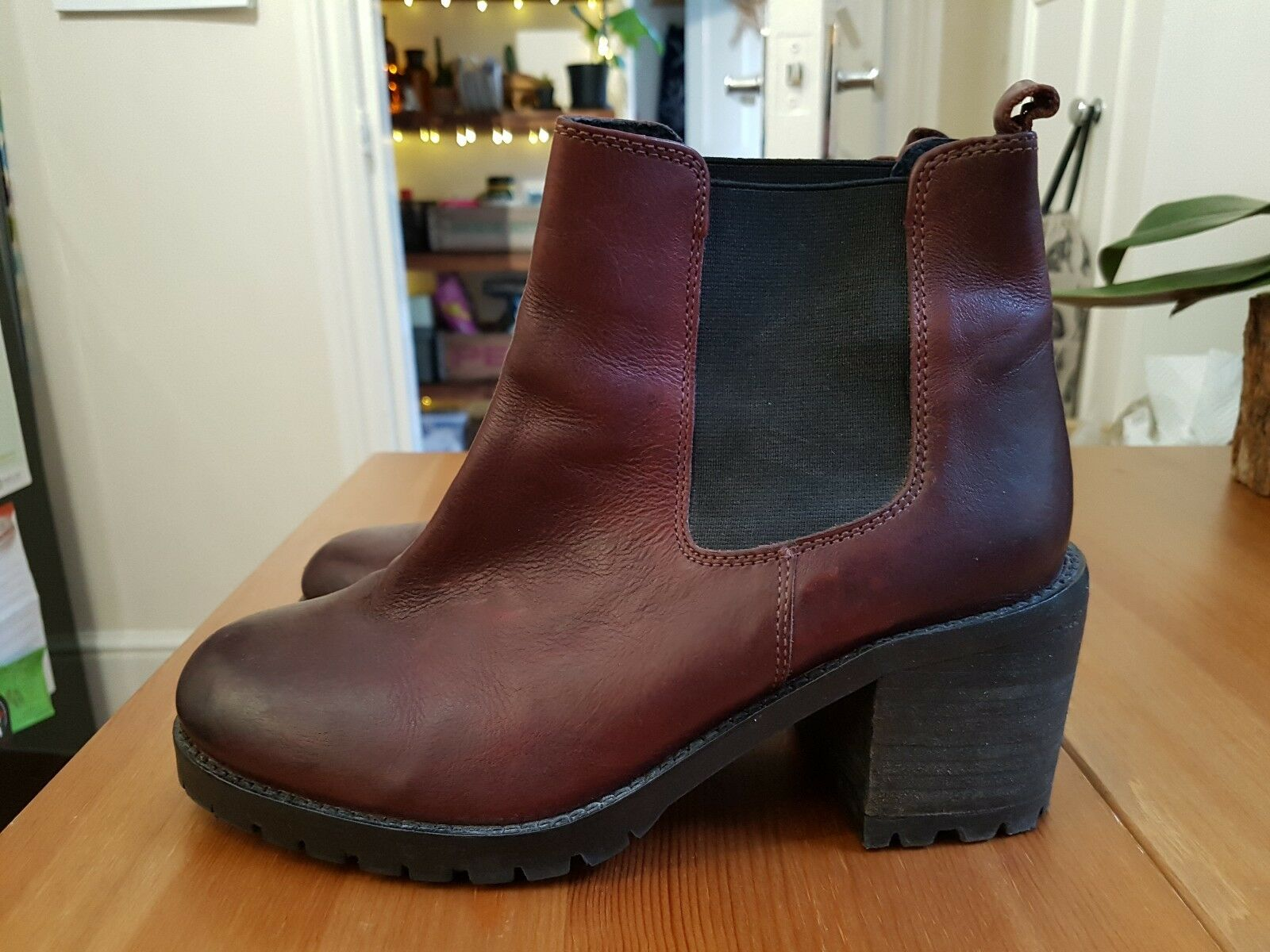 Office Burgundy red womens chelsea ankle boots size 4