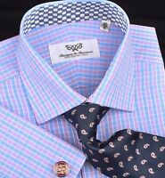 Mens Blue & Purple Plaids & Checks Formal Business Dress Shirt Double Cuffs B2b