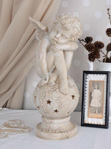 Engel Figur Antik Skulptur schlafender Amor mit Pfeil /& Bogen Gartenfigur Weiss