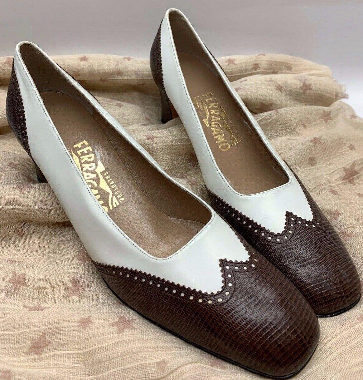NEW SALVATORE FERRAGAMO Heels Ivory Brown Wing Tip Crocodile Leather Pumps 9 1 2