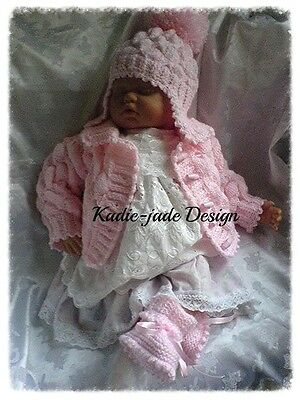 Knitting Pattern #68 (INSTRUCTIONS) Jacket, Hat & Boots for 0-3m Baby
