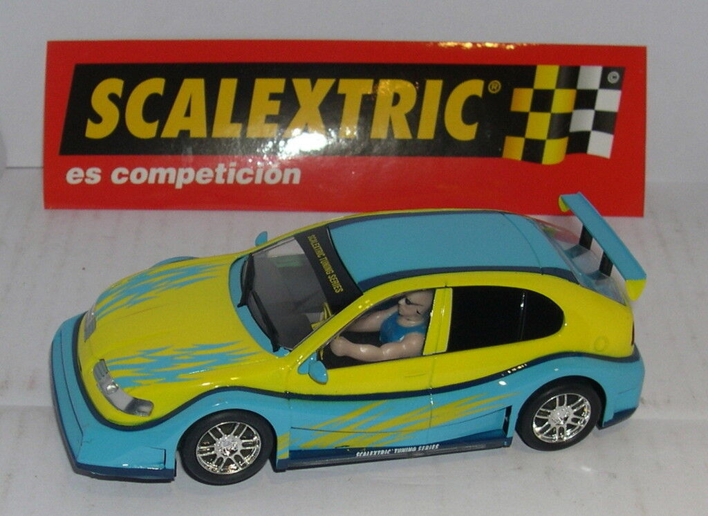 Scalextric Seat Leon Tuning Yellow/Blu Only in Sets.mint Unboxed