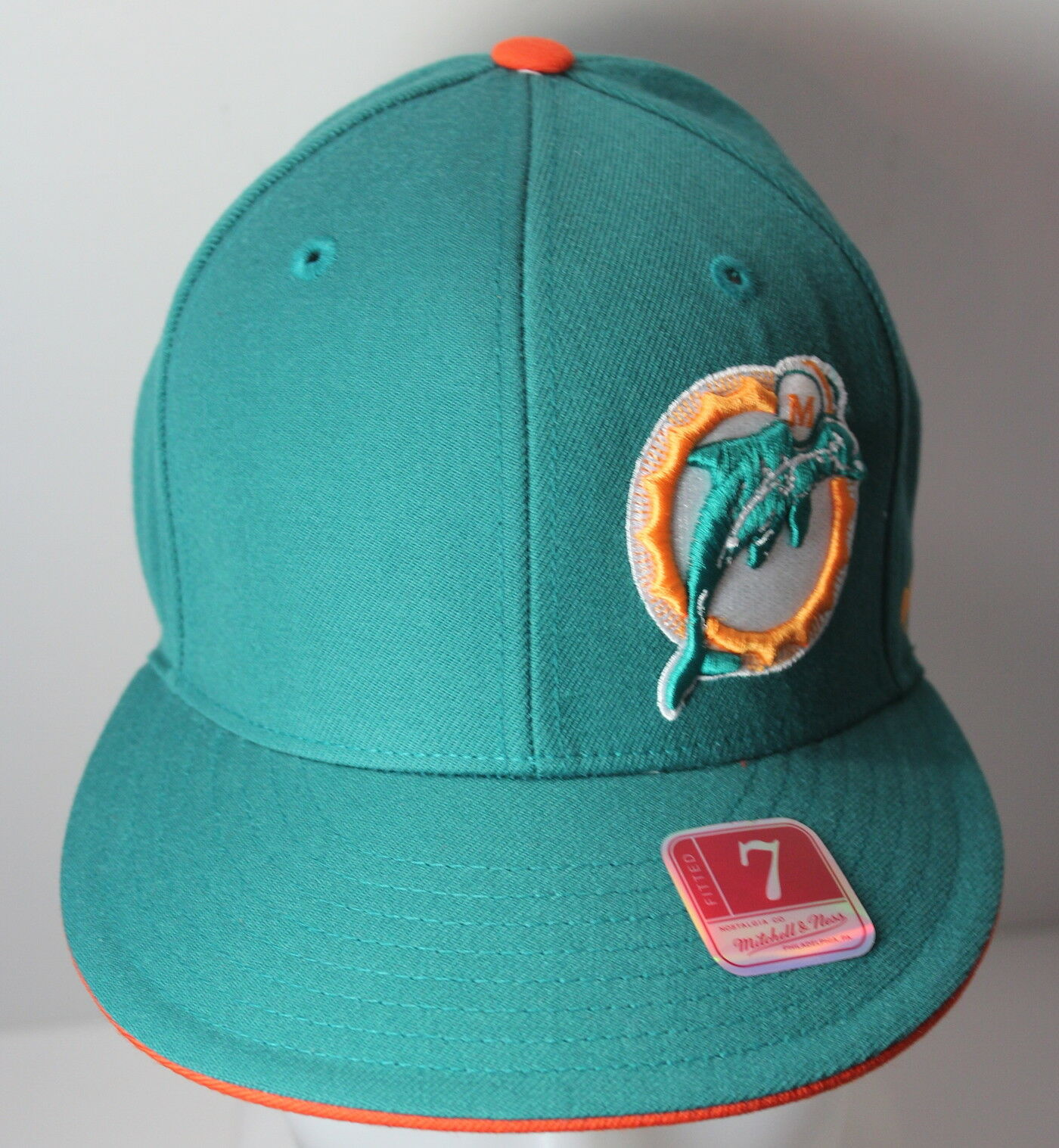 Miami Dolphins NFL Mitchell & Ness 7 NFL Dolphins Fitted Cap Hat NEW f6e55c
