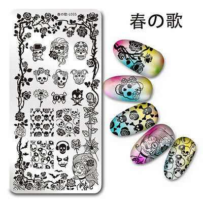 Nail Art Stamp Plate Skull Rose Pattern Manicure Template Harunouta