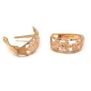 SOLID-14K-ROSE-GOLD-HAWAIIAN-PLUMERIA-FLOWER-HOOP-EARRINGS-DIAMOND-CUT-BORDER