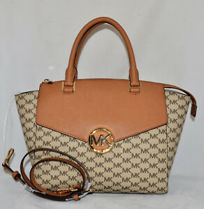 Image is loading 398-MICHAEL-KORS-Hudson-Large-Satchel-Monogram-Jacquard- d3e88950e642e