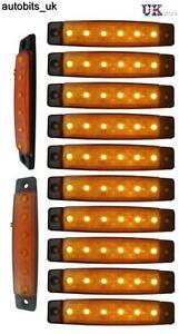 10-Pcs-Orange-Amber-12v-6-Led-Side-Marker-Indicators-Lights-Truck-Trailer-Bus