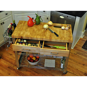 butcher block island kitchen counter cart rolling storage. Black Bedroom Furniture Sets. Home Design Ideas