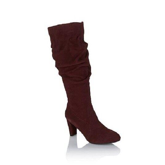 New in Box Hot in Hollywood bordeaux daim Scrunch Classique bottes hautes de 129  7.5 m