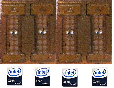 4 Adapters LGA771 Xeon  to LGA775 MOD and 4 Intel Xeon Inside Strickers