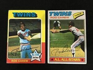 ROD-CAREW-1975-amp-1977-TOPPS-MINNESOTA-TWINS-VINTAGE-BASEBALL-CARDS