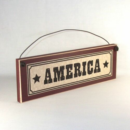 AMERICA Sign Wood Plaque July 4th Memorial Day Patriotic decor Farmhouse Style