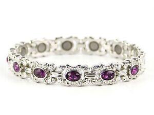 Femmes-Bracelet-Magnetique-Faux-Cristaux-Aimants-Violet-Fonce