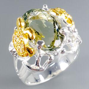 Green-Amethyst-Ring-Silver-925-Sterling-Handmade9ct-Size-8-5-R129895