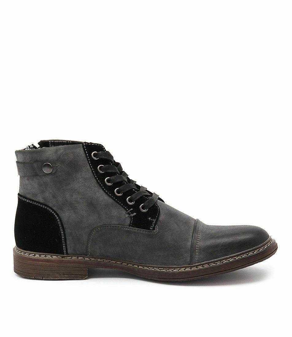Mens Julius Marlow Jm33 Brad-33 Black Zip Lace Up Brad Boots Stylish Fashion New