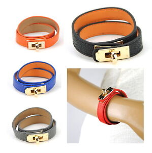 Women-Faux-Leather-BK-H-Wrap-Wristband-Cuff-Bangle-Bracelet-Designer-Fashion