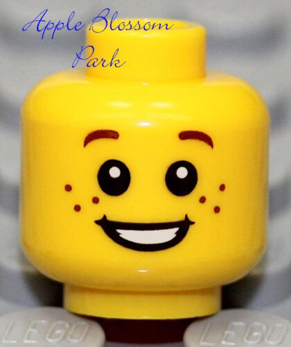 Boy Girl Minifigure w//White Teeth Smile /& Freckles NEW Lego City MINIFIG HEAD