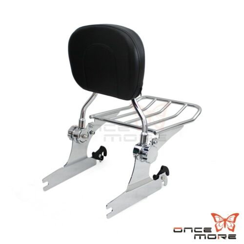 Detachable Backrest Sissy Bar with Luggage Rack For Harley Softail Deluxe FLSTN