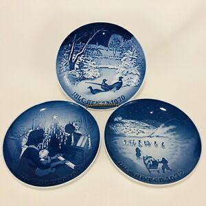 3-Royal-Copenhagen-Blue-Christmas-Collector-Plate-1970-1971-1972-Denmark-VTG-Lot