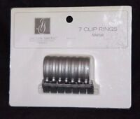 Jaclyn Smith 7 Clip Metal Panel Curtain Rings - Antique Nickel 1.18 In Dia