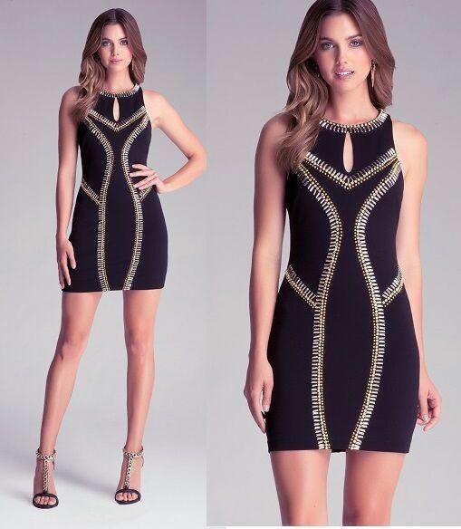 NWT bebe schwarz sequin Gold bead embellished raceback stud club top dress XS 0 2
