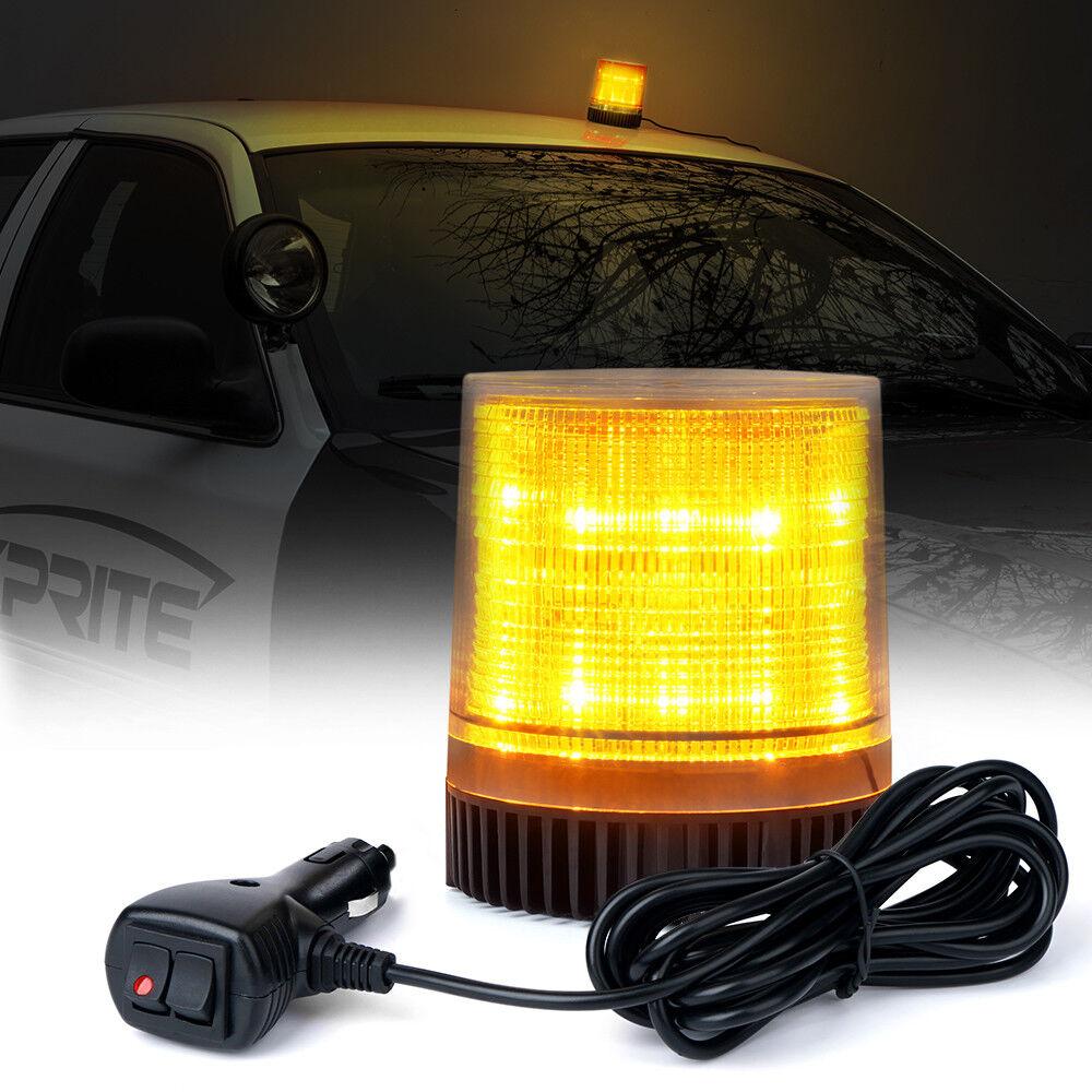 30 LED Amber LED Strobe Light,LED Emergency Vehicle Magnetic Mount Warning Strobe and Rotating Flashing Light Beacon Pattern for Cars and Trucks