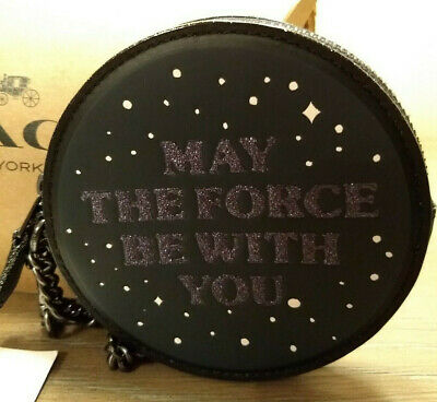 Coach x Star Wars F88491 Round Coin Purse MAY THE FORCE BE WITRH YOU Leather NWT