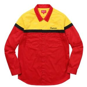 55e56ccf38e3 Supreme Color Blocked Work Shirt Red Size Medium New Rare Sold Out ...