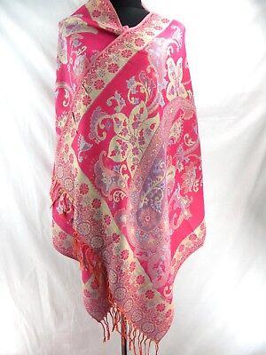 US Seller retro floral paisley gold thread viscose pashmina shawl scarf Ladies