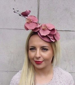 Dusky Pink Gold Orchid Flower Hat Fascinator Hair Clip Races Wedding ... 89dd16cccd3