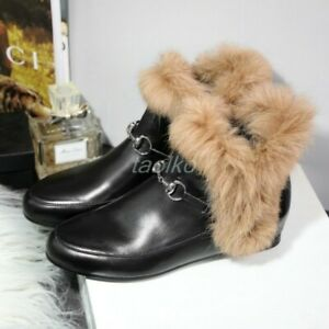 Winter-Warm-Womens-Rabbit-Fur-Trim-Leather-Square-Toe-Shoes-Pull-On-Ankle-Boots