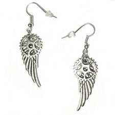 Steampunk Angel Wings with Gears French Hook Silver Plated Earrings