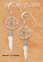 Sterling Silver Small Turquoise Dreamcatcher Earrings W/ Feather On French Wires