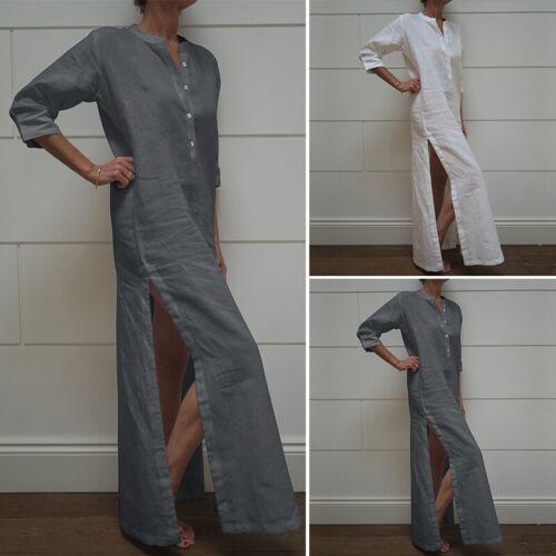 Damenmode Vintage Lose Ethnischen Kleid Muslimischen Shirtkleid Button Maxikleid