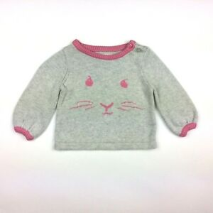 e4ee26f49 Baby Gap Girls 3-6 months Sweater Beatrix Potter Gray Bunny Rabbit ...