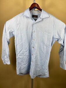 Robert-Talbott-Tailored-Sz-M-Blue-100-Cotton-L-S-Button-Shirt