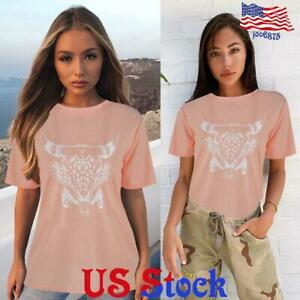 Women-039-s-Fashion-Loose-Letters-Printed-Top-T-Shirt-Short-Sleeve-Casual-Blouse-US