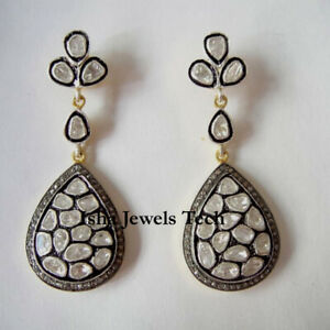 Natural-Pave-Diamond-Polki-Earrings-Gold-amp-925-Sterling-Silver-Victorian-Jewelry
