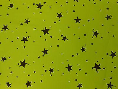 LIME GREEN (KAWASAKI) WITH BLACK STARS STRETCH COTTON ELASTANE TWILL FABRIC