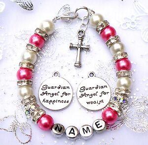 New-baby-child-girl-personalised-christening-holy-communion-bracelet-cross-amp-Bag