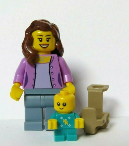 LEGO Mother Mam Minifigure /& Turquoise Xmas Baby With Carrier Holder