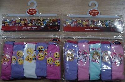 Girls Emoji 5 PACK Briefs Knickers 2 3 4 5 6 7 8 9 10 Years New Unicorn Happy