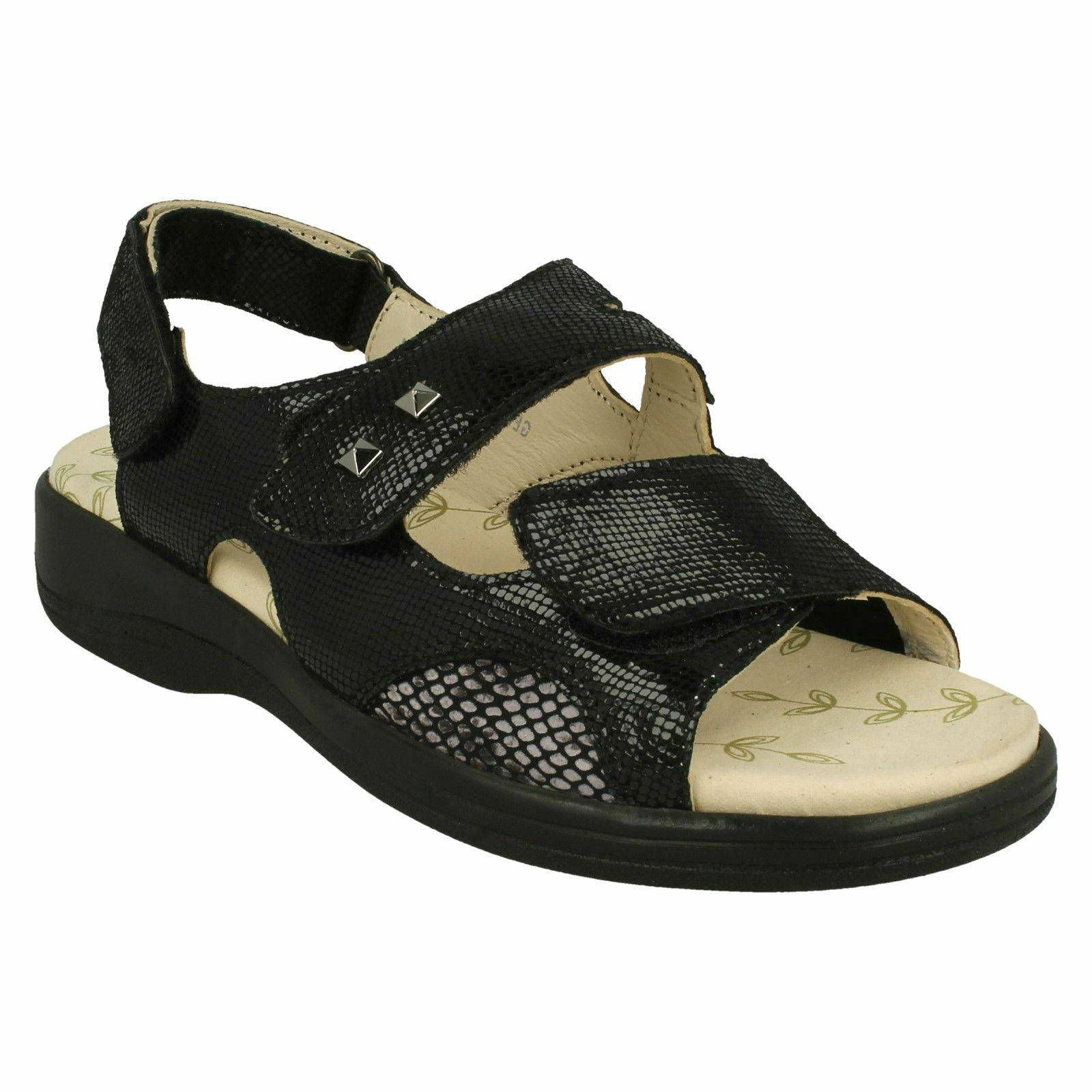 GEMSTONE PADDERS LADIES LEATHER EXTRA WIDE CASUAL OPEN TOE COMFORT SUMMER SANDAL