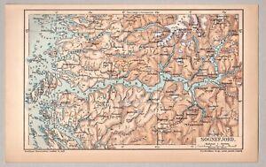 Sognefjord, Norge, Norwegen -  Alte Gebietskarte - Lithographie 1903