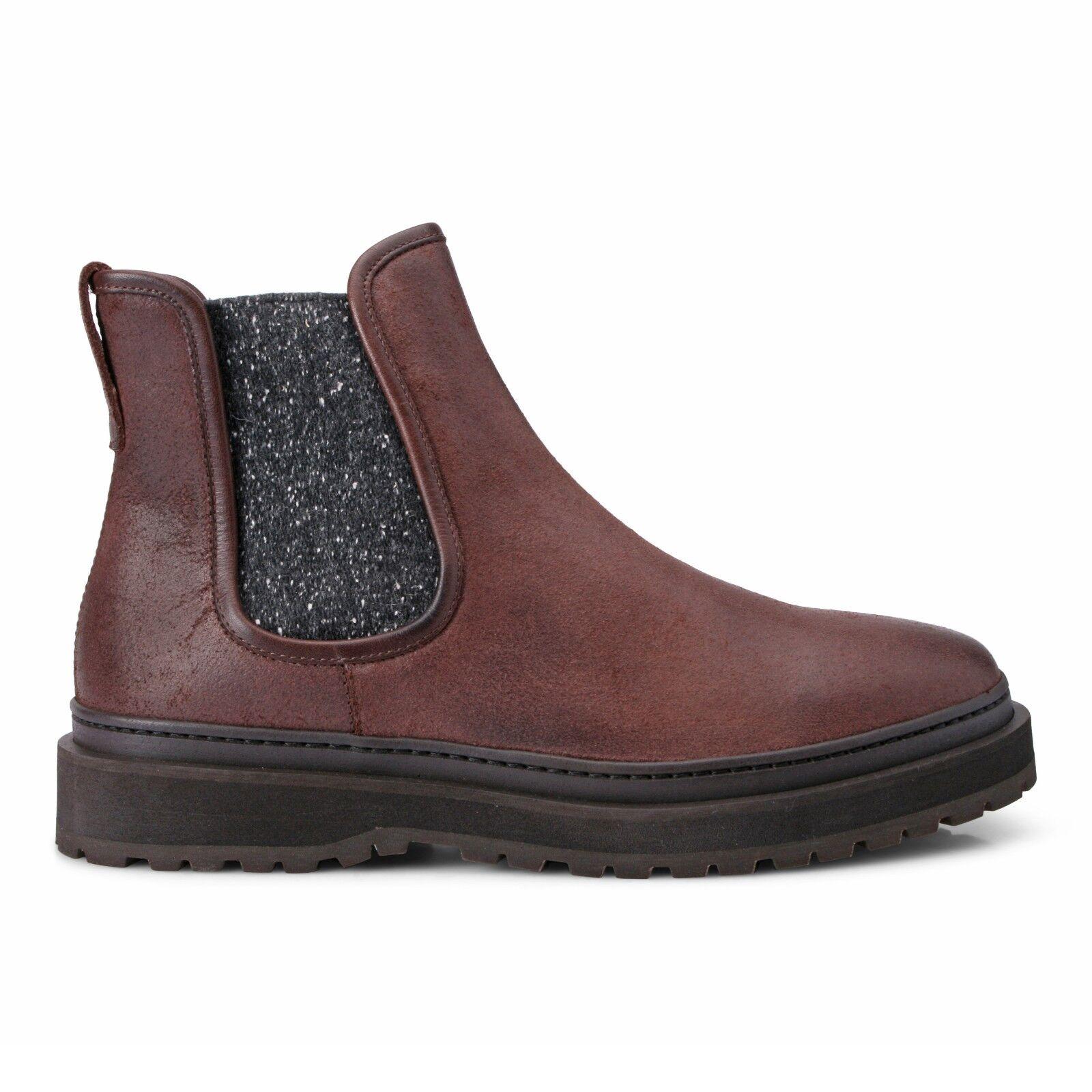 Brunello Cucinelli Men's brown leather cashmerre Boots shoes NEW Sizes 9