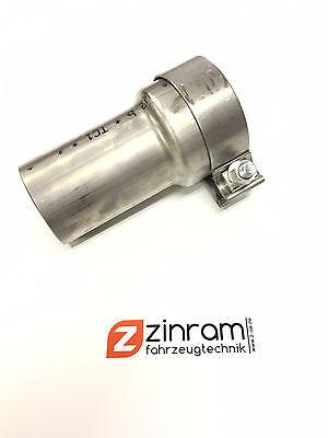 Edelstahl Reduzierung 76,1mm auf 63,5mm mit Schelle Downpipe Abgasanlage