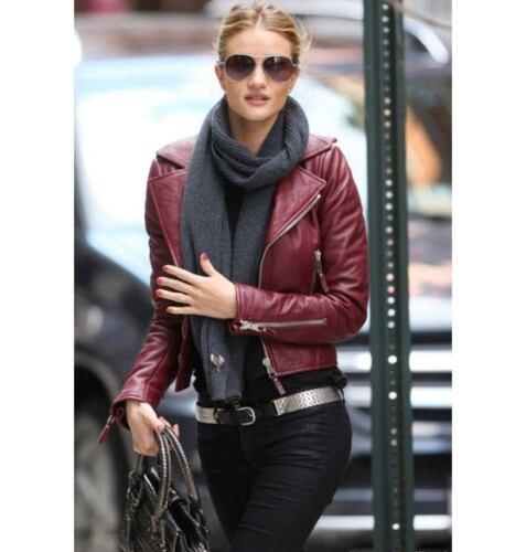 Ladies Women Brando Burgandy Leather Motorcycle Slim Fit Short Body Jacket