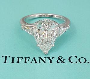 Tiffany Enement Rings | Tiffany Co 4 4 Ct Platinum Pear Diamond Engagement Ring E Vvs1