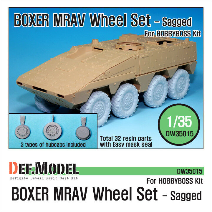 DEF. MODEL, BOXER MRAV Sagged Wheel set, DW35015, 1 35