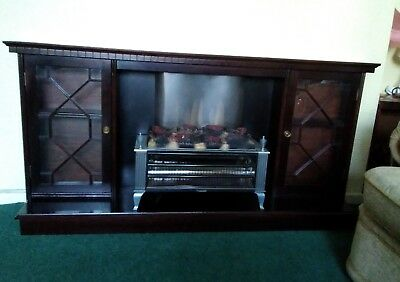 Waterproof Shock-Resistant And Antimagnetic Vintage Mahogany Fire Surround With Side Display Cabinets & Electric Fire
